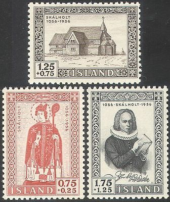 Iceland 1956 Skalholt Cathedral/Bishop/Saint/Buildings/People 3v set (n42530)