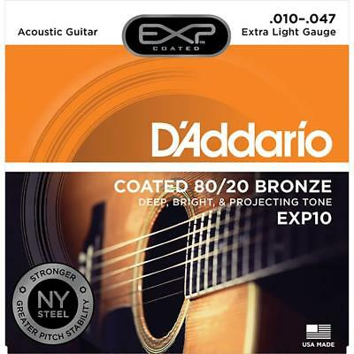 Daddario 10-47 Extra Light Coated 80/20 Bronze Acoustic Strings