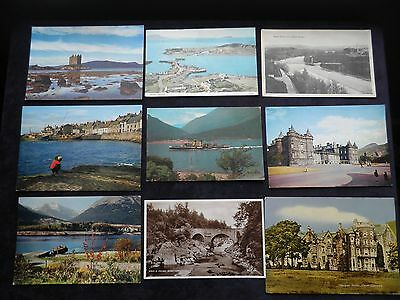 9 Vintage Scottish Postcards Ballachulish Ferry, Banchory, Fife, Loch Lomond