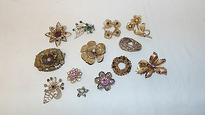 Lot of 12 Vintage Gold Tone Brooches w/Rhinestones
