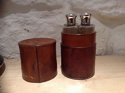 Antique SILVER TOPPED SCENT / PERFUME BOTTLES IN LEATHER CASE by Tiffany & co