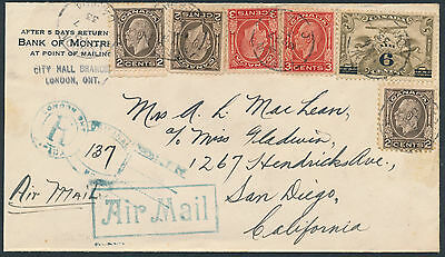 1933 London Ont to San Diego, Airmail, Registered, Keyhole