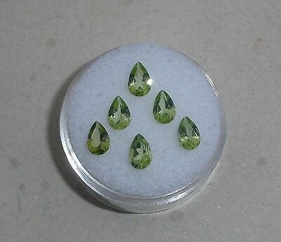 6 Peridot Pear Loose Gems 6x4mm each