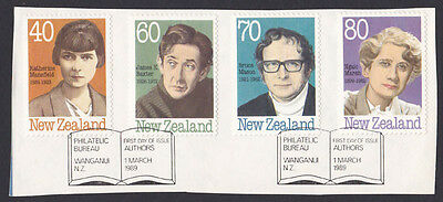 1989 New Zealand Authors stamps x 4 used First Day of Issue on piece
