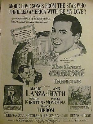 The Great Caruso, Mario Lanza, Ann Blyth, Full Page Vintage Promotional Ad