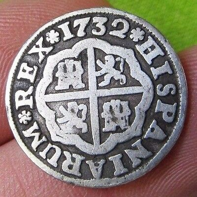 awesome 1732 PIRATE COB SPANISH 1 Real Colonial Silver Coin Felipe PHILIP V