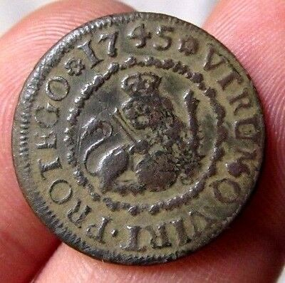 awesome 1745 PIRATE COBS SPANISH 2 Maravedis Colonial Coin Felipe PHILIP V