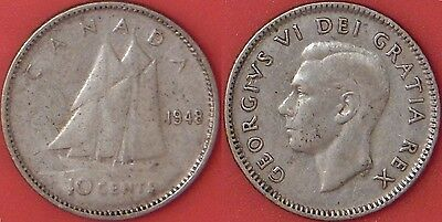 Very Good 1948 Canada Silver 10 Cents