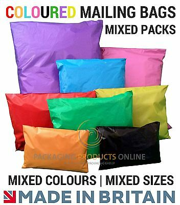 MIX PACK - Coloured Plastic Strong Mail Post Mailing Postage Poly Bags Self Seal