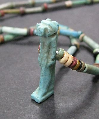 NILE  Ancient Egyptian Monkey Amulet Mummy Bead Necklace ca 300 BC