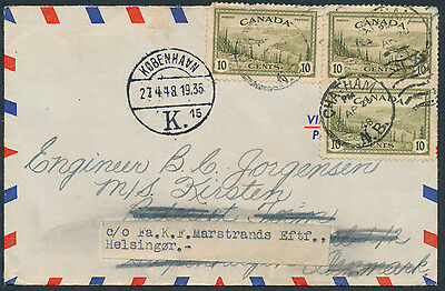 1948 Chatham NB to Denmark, Air Mail Cover, 2x Rate, Forwarded