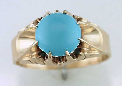 Vintage Antique Turquoise 14K Yellow Gold Victorian Cocktail Ring