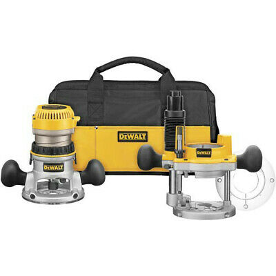 DEWALT 2-1/4 HP EVS Fixed and Plunge Base Router Combo Kit DW618PKB New