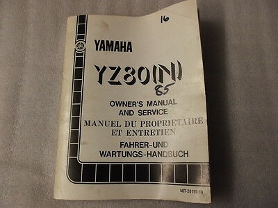 Yamaha Yz80N Owners Manual And Service 58T 28199-80  16
