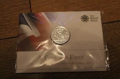 20 Pound Coin Royal Mint 2013 UK A TIMELESS FIRST £20 (Twenty Pound) Fine Silver