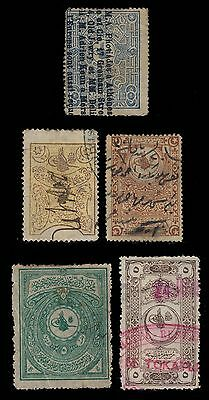 TURQUIE / TURKEY - 5 different Revenue Stamps  - all used