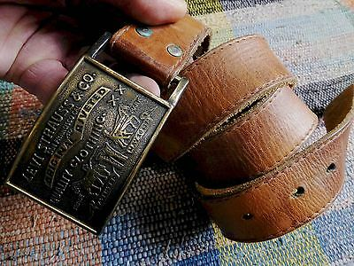 Vintage Levis Brown Leather Belt With Brass Buckle Size Approx 32