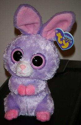 """Ty Beanie Boos ~ PETUNIA the 6"""" Purple Easter Bunny ~ MINT with MINT TAGS"""