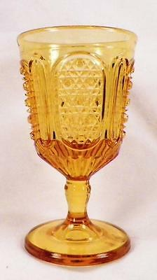 Fine Cut & Panel Wine Goblet Amber Early American Pattern Glass Bryce Higbee