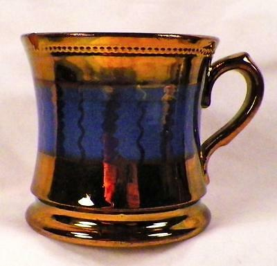 Antique Copper Luster Mug Blue Band Zig Zag Scallops As Is
