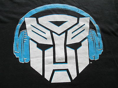 Transformers Autobots Logo Headphone Black White T Shirt Size M Medium L Large