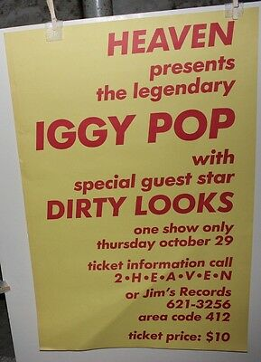 """Iggy Pop Dirty Looks Vintage 1987 Concert Poster Pittsburgh PA 23"""" x 34"""""""
