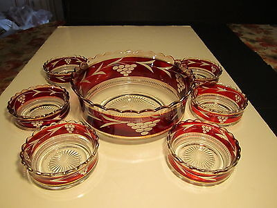 Antique EAPG Ruby Stain Decorated 7 Pc Berry Service Set Grapes & Leaf Decorated