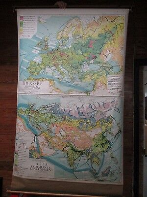 Vtg Denoyer Geppert Mid Century Modern Industrial Pull Down Map 1962 Europe +