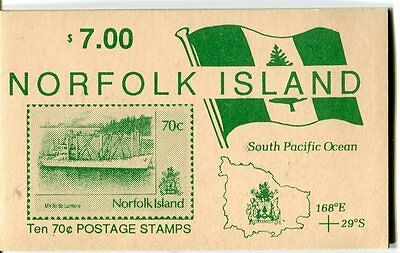 1991 Norfolk Island Shipping MUH $7.00 Stamp Booklet With Block of 10
