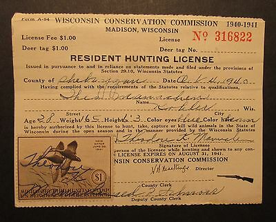 RW7 Federal Duck Stamp on 1940 Wisconsin Hunting License