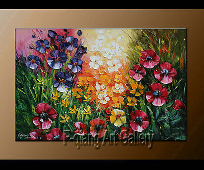 Hand-painted on canvas art Modern abstract wall Flower oil painting Framed F2068