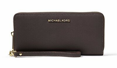 NWT❤️$168 MICHAEL KORS Leather Jet Set Continental Wallet Wristlet Coffee Brown