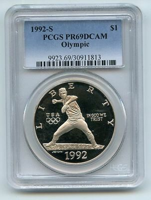 1992 S $1 Olympic Silver Commemorative Dollar PCGS PR69DCAM