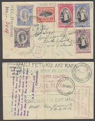 Tonga 1939 Tin Can Mail Registered Cover To New Zealand (Id:183/d41778)