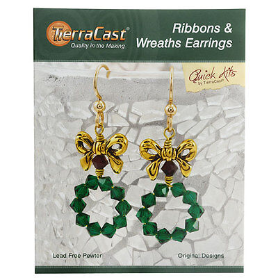 TierraCast Kit, Ribbons & Wreaths Earrings 2 Inches, 1 Kit, Gold, Green, Siam