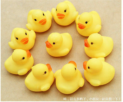 1/5/10/20PCS Baby Children Kids Bath Shower Toy Yellow Rubber Squeaky Duck Ducky