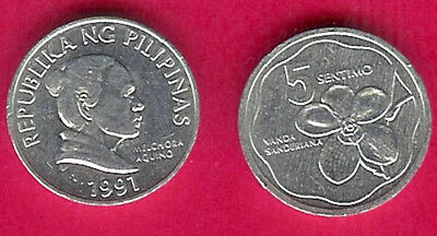 Philippines 5 Sentimos 1991 Unc Waling-Waling Orchid An