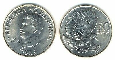Philippines 50 Sentimos 1986 Unc Eagle With Talons Out