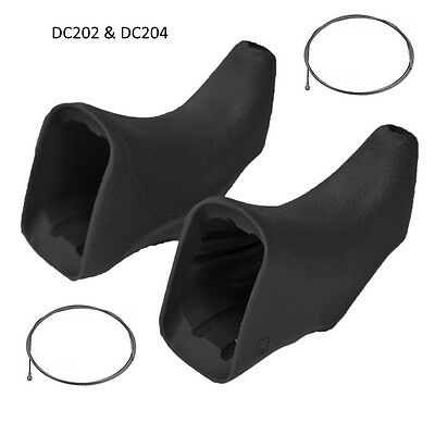 DIA COMPE 204 & 202 Road brake lever hoods black non aero with 2 x inner cables