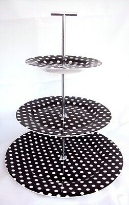 Black Dots Cake Stand 3 Tier Bone China Black Cake Stand Hand Decorated in UK