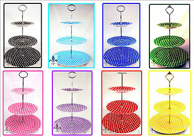 Multi Colour Dots Cake Stand 3 Tier Bone China Polka Retro Different Colors