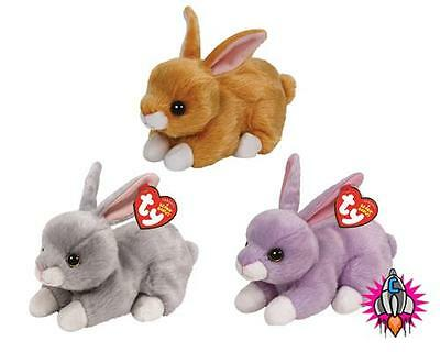Ty Beanie Boo Babies Plush Soft Toy Easter 2016 Bunny Rabbits Nibbler Lilac