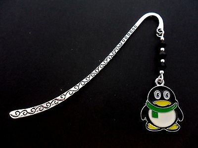 A Tibetan Silver  And Enamel Penguin  Charm Black Crystals  Bookmark. New.