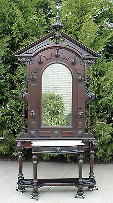 Monumental Victorian Rosewood & Walnut  Marble Top Hall Tree Umbrella Stand