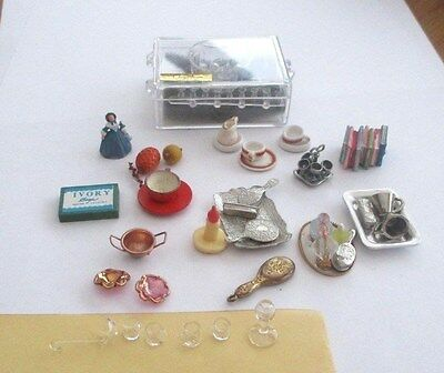 Dolls House Collection / Job Lot Accessories . Dressing Table, Glassware Etc.