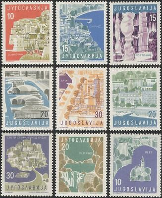 Yugoslavia 1959 Tourism/Lakes/Caves/Boats/Buildings/Architecture 9v set (n45067)