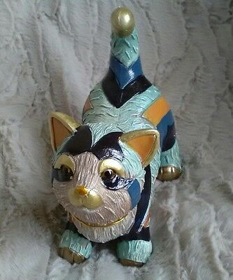 Playful Kitten Ornament Figurine Gold Blue Collectable Cat Gallery Collection