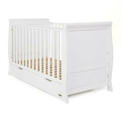 Obaby Stamford Sleigh Cot Bed & Drawer (White) - Suitable From Birth