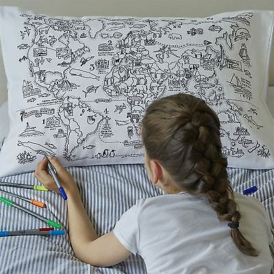 Colour-In Map Of World Landmarks Animals White 100% Cotton Housewife Pillowcase