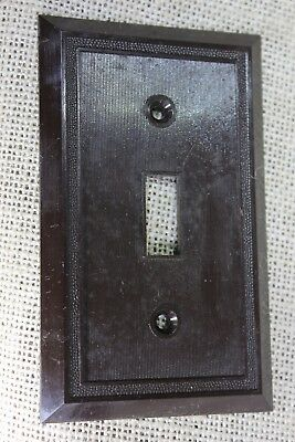 Single push button old Switch cover Plate brown plastic vintage 1900's NOS